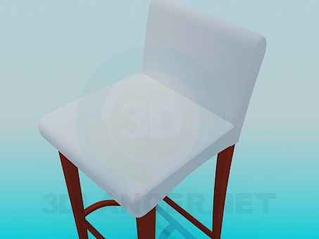 3d model High Chair with high legs and low back - preview