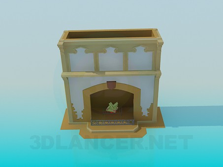 3d modeling Painted fireplace model free download