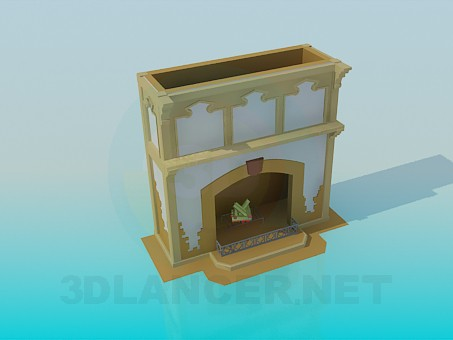 3d model Painted fireplace - preview