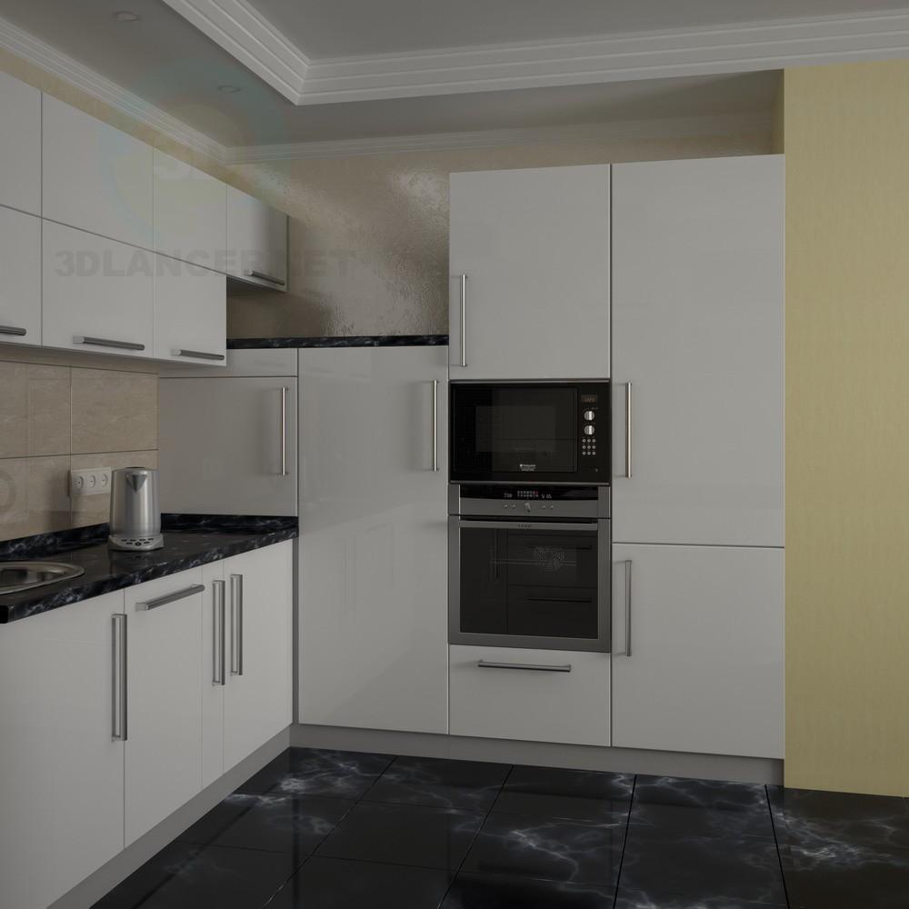 Modelo 3d cocina en forma de u estilo high tech descargar for Cocinas en 3d gratis