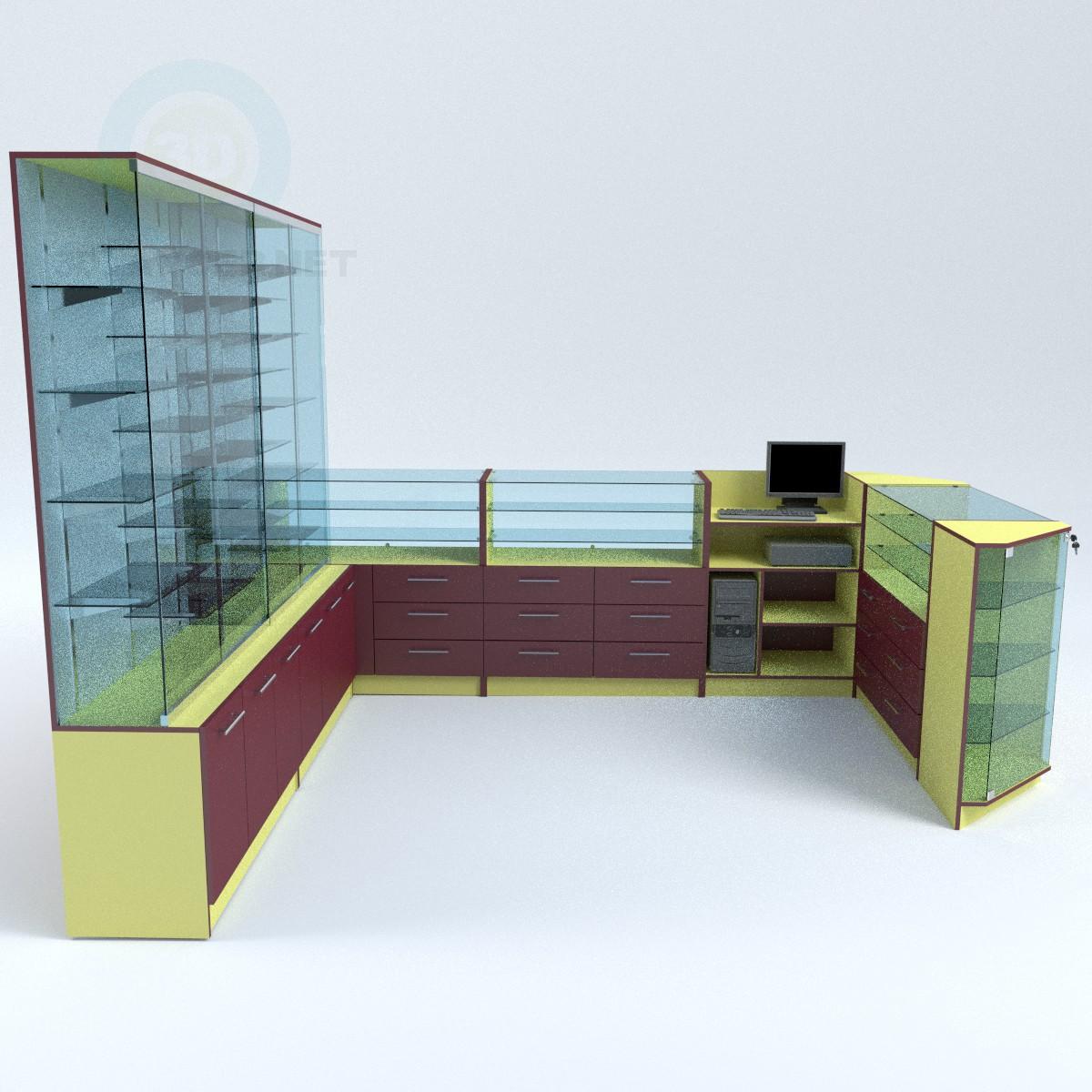3d модель Витрины торговые островного типа – превью