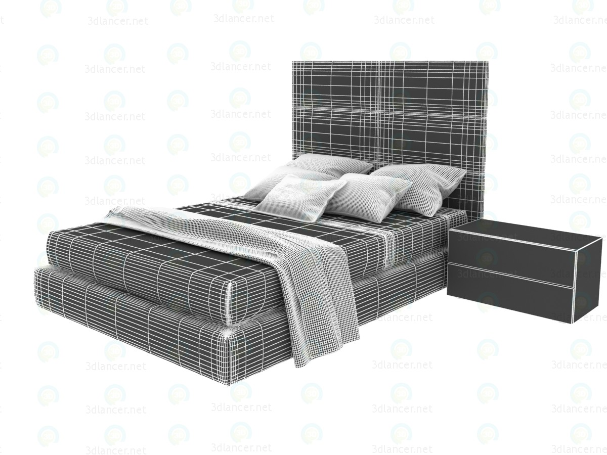 3d Tory double bed with a box for linen model buy - render