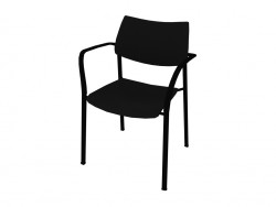 Stackable chair with armrests made of polyamide