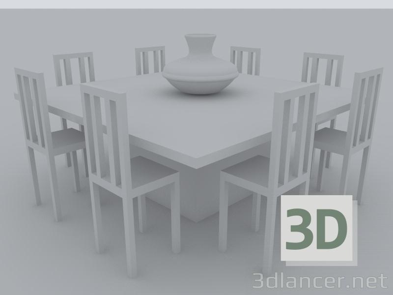 3d model Comedor cuadrado - vista previa