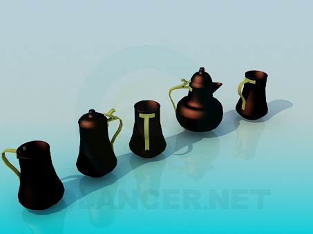 3d model Metallic teapoti for tea and cups - preview