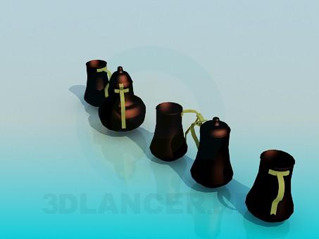 modelo 3D Teapoti metálico para el té y tazas - escuchar