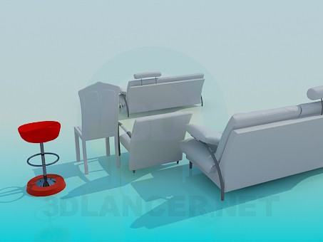 3d model A set of sofas with chairs - preview
