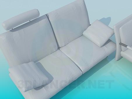 3d модель Набір диванів зі стільцями – превью