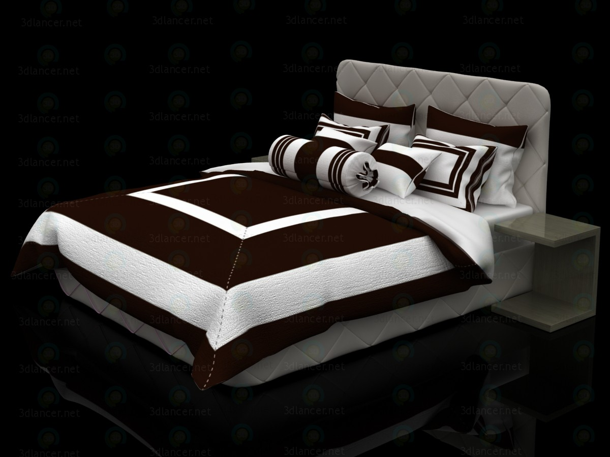 3d Bed with white-chocolate linens model buy - render