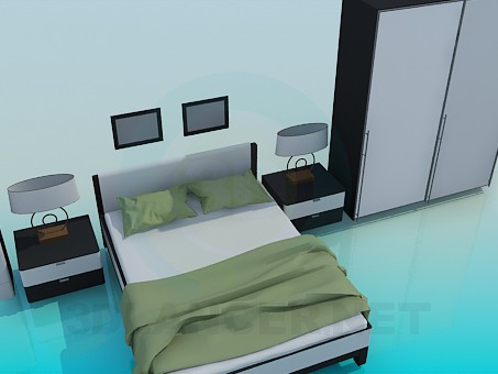 3d modeling A set of furniture in the bedroom model free download