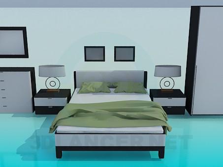 3d модель Набір меблів в спальну кімнату – превью