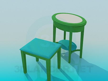 3d model Coffee table and stool - preview