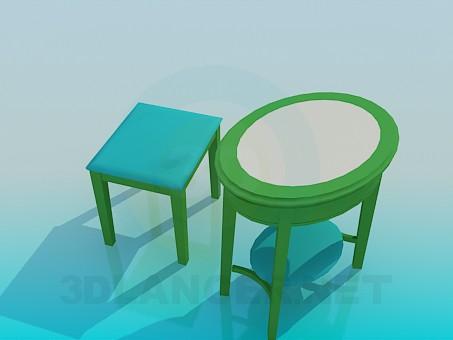 3d модель Кофейный столик и табурет – превью