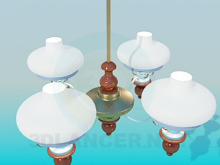 3d modeling Chandelier spoluzakrytymi ceiling paintings model free download