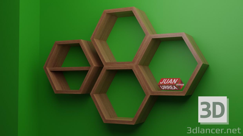 3d model shelves JUAN URREA - HEXA 1 - preview