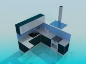 रसोई घर में नीले टन