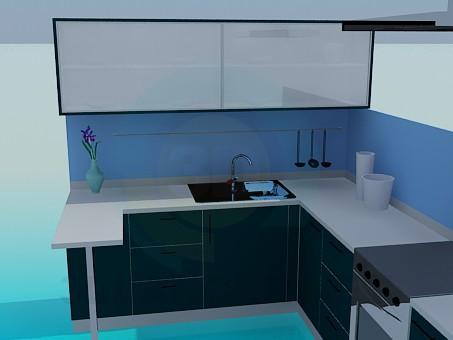 3d модель Кухня в голубых тонах – превью