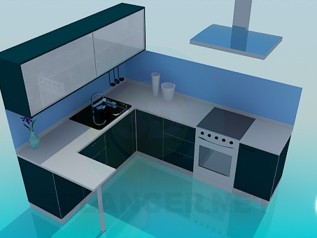 3d model Kitchen in blue tones - preview