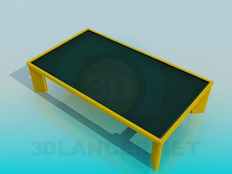 3d model Coffee table with dark glass - preview