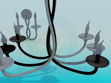 3d модель Люстра и бра со свечами – превью