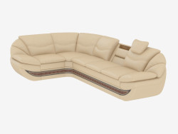 Leather Corner Sofa with Bed