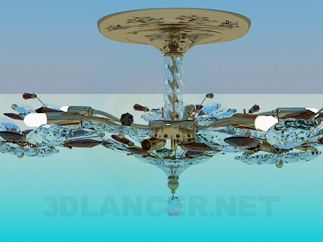 descarga gratuita de 3D modelado modelo Lámpara Chandelier de cristal flores