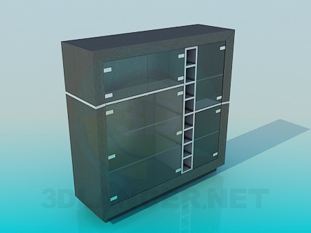 3d model Cabinet with glass doors - preview