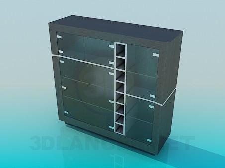modelo 3D Gabinete con puertas de vidrio - escuchar
