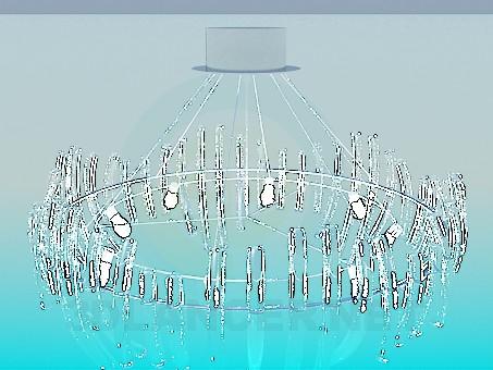 3d моделирование Большая люстра со стеклянными трубочками модель скачать бесплатно