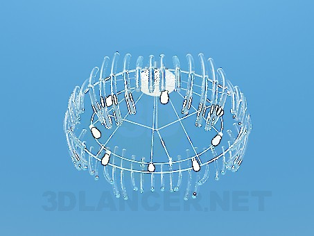 3d модель Большая люстра со стеклянными трубочками – превью