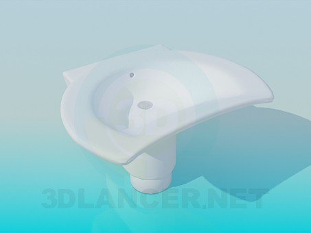 modelo 3D Fregadero en forma de la luna - escuchar