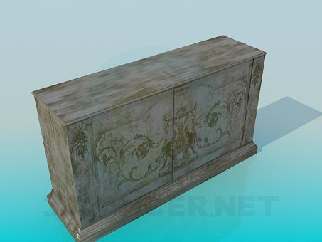 3d модель Тумба деревянная – превью