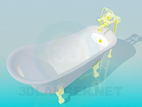descarga gratuita de 3D modelado modelo Bañera con patas doradas y mezclador