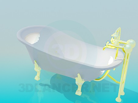 3d model Bath with gold-plated legs and mixer - preview