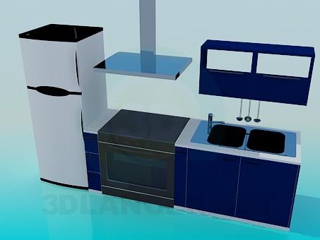 modelo 3D Pequeña cocina - escuchar