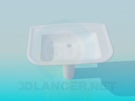 3d модель Прямоугольный умывальник – превью