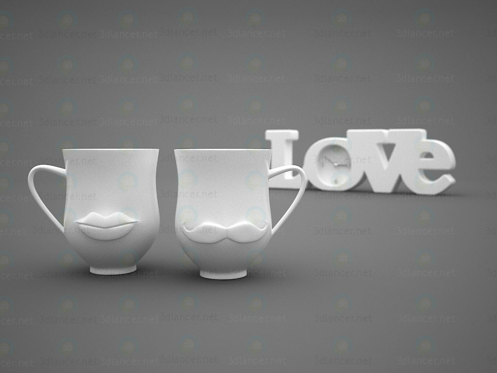 3d model Decor watch Love and cups (+ lip mustache) - preview