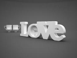 सजावट देखो प्यार और कप (+ होंठ मूंछें)