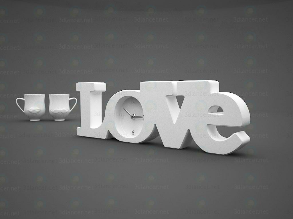 3d моделювання Декор годинник Love і чашки (губи + вуса) модель завантажити безкоштовно