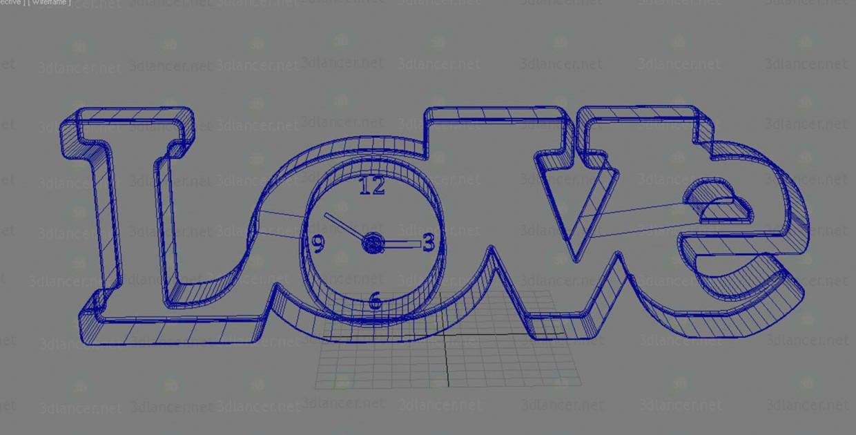 3d модель Декор годинник Love і чашки (губи + вуса) – превью