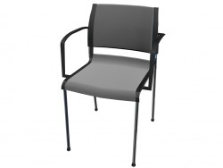 Stackable chair with upholstery fabric with armrests