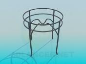 Mesa de vidro redonda em metal-base