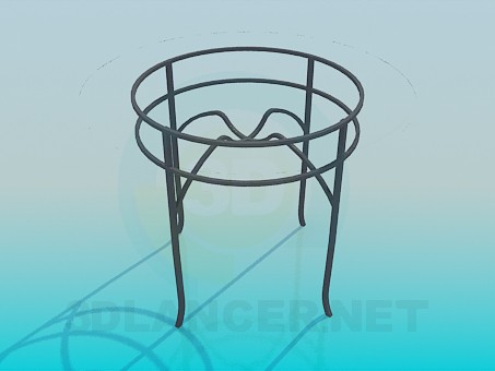 3d modeling Round glass table on metal-base model free download