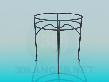 3d модель Круглый стеклянный столик на металлической основе – превью