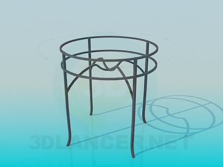 3d model Round glass table on metal-base - preview