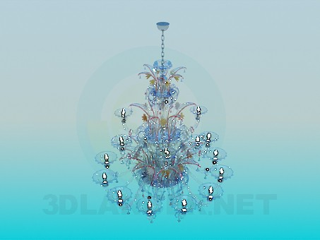3d model Chandelier made of multicolored glass - preview