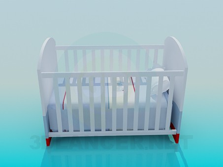 3d model Cot for baby boy - preview