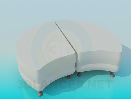 3d model Double ottoman - preview