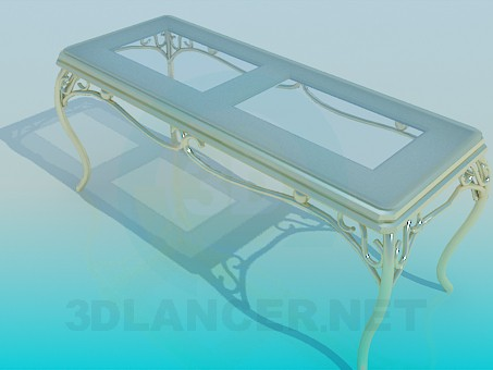 3d model Bench with golden legs - preview
