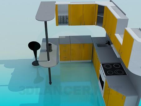 3d modeling Kitchen set model free download